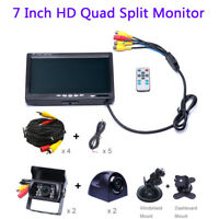 7 Inch HD Quad Split Monitor + 4 Backup Reverse Side View Camera Kit Waterproof