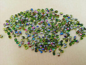 20gms Gorgeous Czech Super Duos in Olivine Electric Rainbow