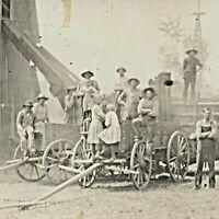 1900s Welton IA Farmers Laborer Group Barn Wagon Children Real Photo RPPC Vtg A2