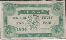 USA Texas 2 1/2 Cents 1936 Mature Citrus Fruit , Green Stamp Circulated  XF /Au