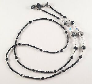 Beaded Eyeglass Sunglass Chain Holder Leash~Black Crackle & Silver~Crystal