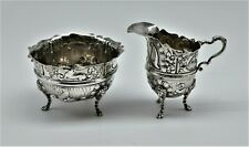 Antique Sterling Silver Animal Design Large Cream & Sugar Lions   NR