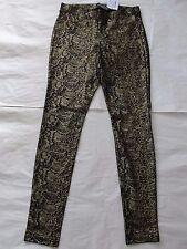 NWT $54 Hue Women Metallic Python Ponte Leggings U16465 Sz S Gold/Black
