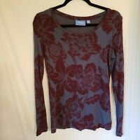 Simply Vera Wang S Long Sleeve Floral Shirt Gray, Burgundy Super Soft Top Blouse