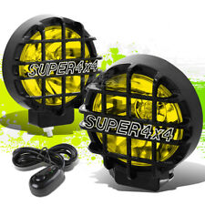 "6"" ROUND BLACK BODY YELLOW FOG LIGHT/OFFROAD SUPER 4X4 GUARD WORK LAMP+GRILLE"
