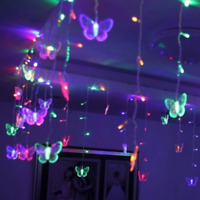 96 LED Butterfly Curtain Fairy String Lights Lamp Xmas Romantic Wedding