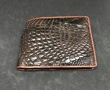 Dark Brown Crocodile Alligator Leg Skin Leather Men's Bifold Wallet