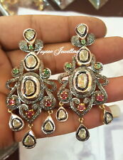 Emerald , Ruby Gemstone With Rose Cut Polki Diamond Earring 925 Sterling Silver