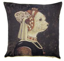 Maltezer dog belgian  tapestry gobelin throw pillow cushion cover westy portrait