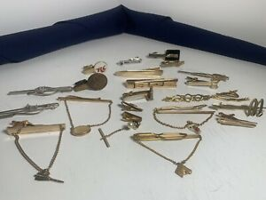 Vintage Estate Mens Jewelry Lot of 24 Tie Clips Tie Bars With Chains Tie Tacks