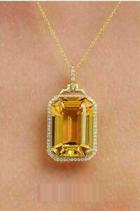 3.50Ct Emerald Cut Citrine & Diamond Halo Women's Pendant 14K Yellow Gold Finish