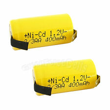 2 pcs 2/3AA 2/3 AA 400mAh NiCd Ni-Cad 1.2V Rechargeable Battery Cell US Stock