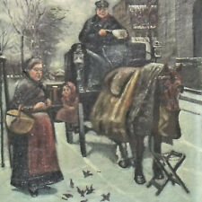 ÖLGEMÄLDE AUF LW, FRAU FÜTTERT VÖGEL, KUTSCHE, WINTER, DATIERT 1920  (171104)