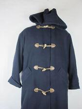 Vintage Woman's Petite J.G. Hook Navy Blue Wool Hood Duffle Coat Size M / L USA