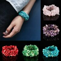 Natural Stone Crystal Chip Bead Bracelet Women Quartz Bangle Lucky Bangle Gifts