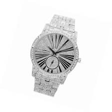 Bling-ed out Mens Hip Hop Roman Numeral Dial Silver Tone Watch - L0503