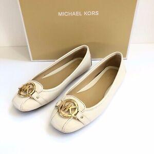 NEW Michael Kors MK Logo Fulton Moc Flats Loafers Light Cream Gold Shoes 6 8 9.5