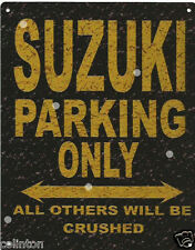 SUZUKI PARKING METAL SIGN RUSTIC VINTAGE STYLE6x8in 20x15cm garageART