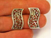 Old vintage retro Sterling Silver 925 earrings authentic women's jewelry 217s
