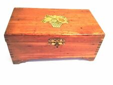 Vintage Wood Cedar Box with Floral Design