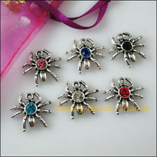 6 New Charms Glass Crystal Mixed Spider Tibetan Silver Pendants 17x19mm