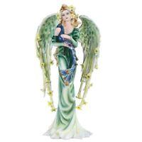 Green Angel Fairy With Peacock Figurine 9.25 Inch New