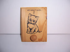 "Cat Leash Holder Finland Vintage 1980's Natural Wood Cat thinks ""Vie minut ulos"""