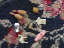 Lot of trinkets vintage trinkets mostly old plastic charms bowling pins baby tea