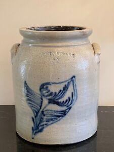 Antique Noah White & Son Utica NY 2 Gallon Crock
