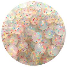 10 silicone RAINBOW SPECKLED 15mm beads round BPA free safe nursing clear