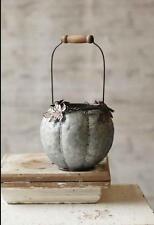 Galvanized Metal Pumpkin Basket~Fall Halloween Farmhouse Decor