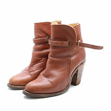 Vintage FRYE Womens Ankle Strap Boot Bootie Soft Caramel Brown Leather Size 5.5