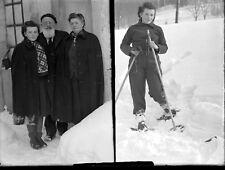 Double portrait famille jeune fille ski neige ancien négatif photo verre an.1940
