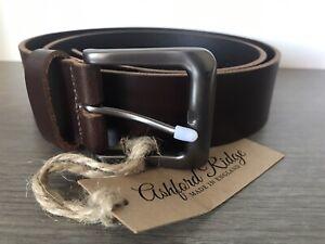 Ashford ridge brown leather belt size medium Bnwt made In england 38mm Full Hide