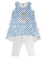 New Girls Boutique Anita G sz 6 Navy GOLD ANCHOR outfit Sailor Nautical Clothes