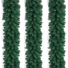 2.7M Long Christmas Garland Pine Wreath Thick Mantel Fireplace Cane Plain Green