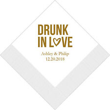 300 Drunk In Love Personalized Printed Wedding Cocktail Napkins