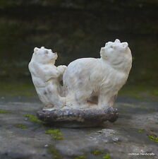 Bears Carved 86x102mm in Deer Antler Bali Carving ST465 Table Decor