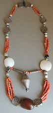 Handmade Kyrgyz Turkoman Multi-Strand Coral Bead Necklace Afghanistan