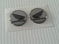 2 Adesivi HONDA 3D argento e NERO 3D resinati Hornet CBR CBS CB NC - 2 cm