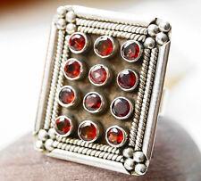Riesig Solitär Silberring 64 Handarbeit Granat Eckig Rot Ring Silber Modern