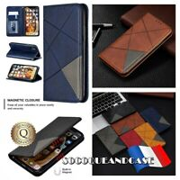 Etui coque housse GEOMETRIC Cuir PU Leather Wallet Case Samsung Galaxy A01, A11