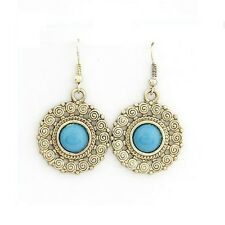 Tribal Style Gold Blue Filigree Costume Jewellery Dangle Earrings + Gift Bag