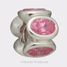 Authentic Pandora Sterling Silver Pink Oval Lights CZ Bead 790311PCZ