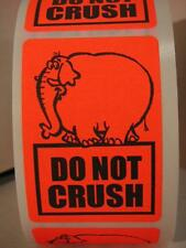 DO NOT CRUSH fluorescent  red elephant 2x3 Warning Stickers Labels 250/rl
