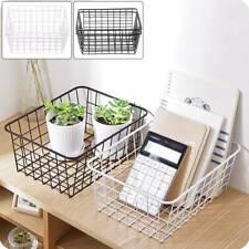 2pcs kitchen Iron Storage Basket Desk Metal Wire Mesh Basketry Bathroom Tray UK