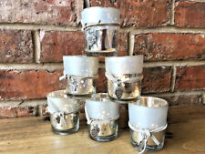 6x Vintage Silver Mercury Mirrored Glass Tealight Candle Holders Wedding Votive