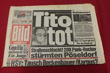 Bild Zeitung 5. Mai 1980 * Tito ist tot