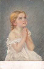 YOUNG GIRL IN GOWN SAYING PRAYERS-ARTIST POSTCARD 1918