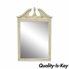 Vintage Ethan Allen Heirloom Hitchcock Stencil Paint Decorated White Wall Mirror